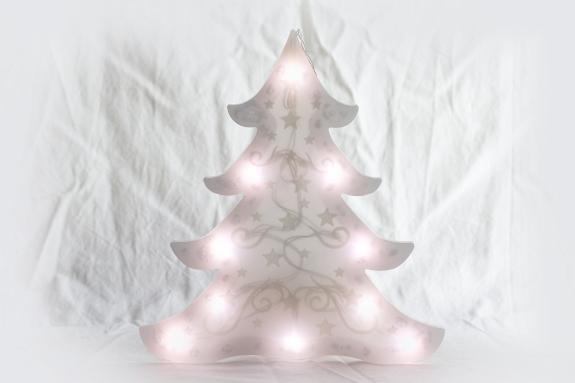 LED Tannenbaum H: ~22 cm, mit Applikationen in Samtoptik