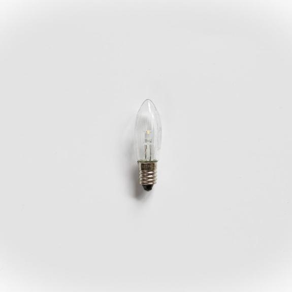 LED Toplampe, E10, klar/geriffelt